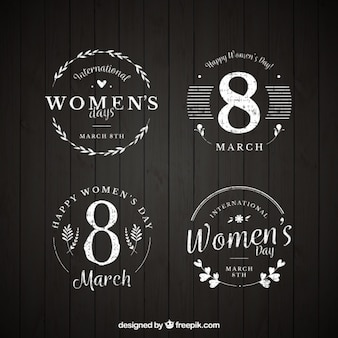 Set of vintage woman's day badges