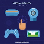 Set of virtual reality flat elements