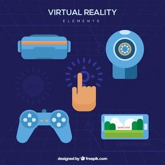 Set of virtual reality flat elements