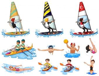 水スポーツのイラストのセット