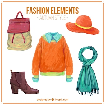 Set of watercolor autumn clothes with accessories