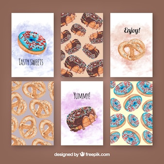 Set of watercolor cards with delicious sweets