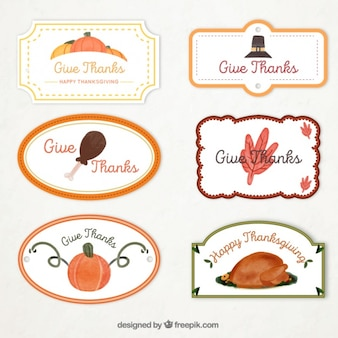 Set of watercolor decorative thanksgiving day stickers