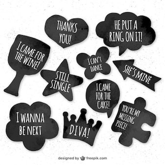 Set of watercolor dialog stickers and balloons