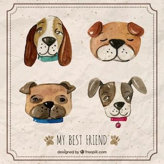Set of watercolor dog avatars