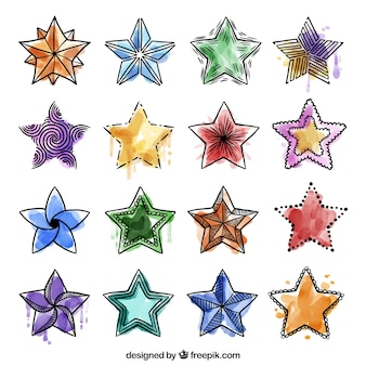 Set of watercolor doodles stars