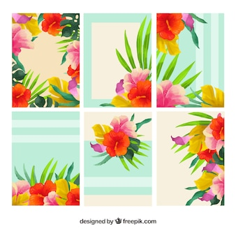 Set of watercolor flowers cards