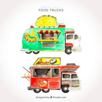 Set of watercolor food trucks