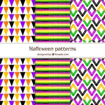 Set of watercolor geometric patterns