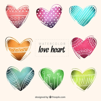 Set of watercolor hearts with drawings