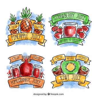 Set of watercolor juice stickers with different fruits
