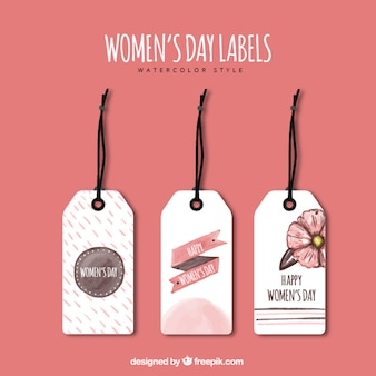 Set of watercolor labels for women's day