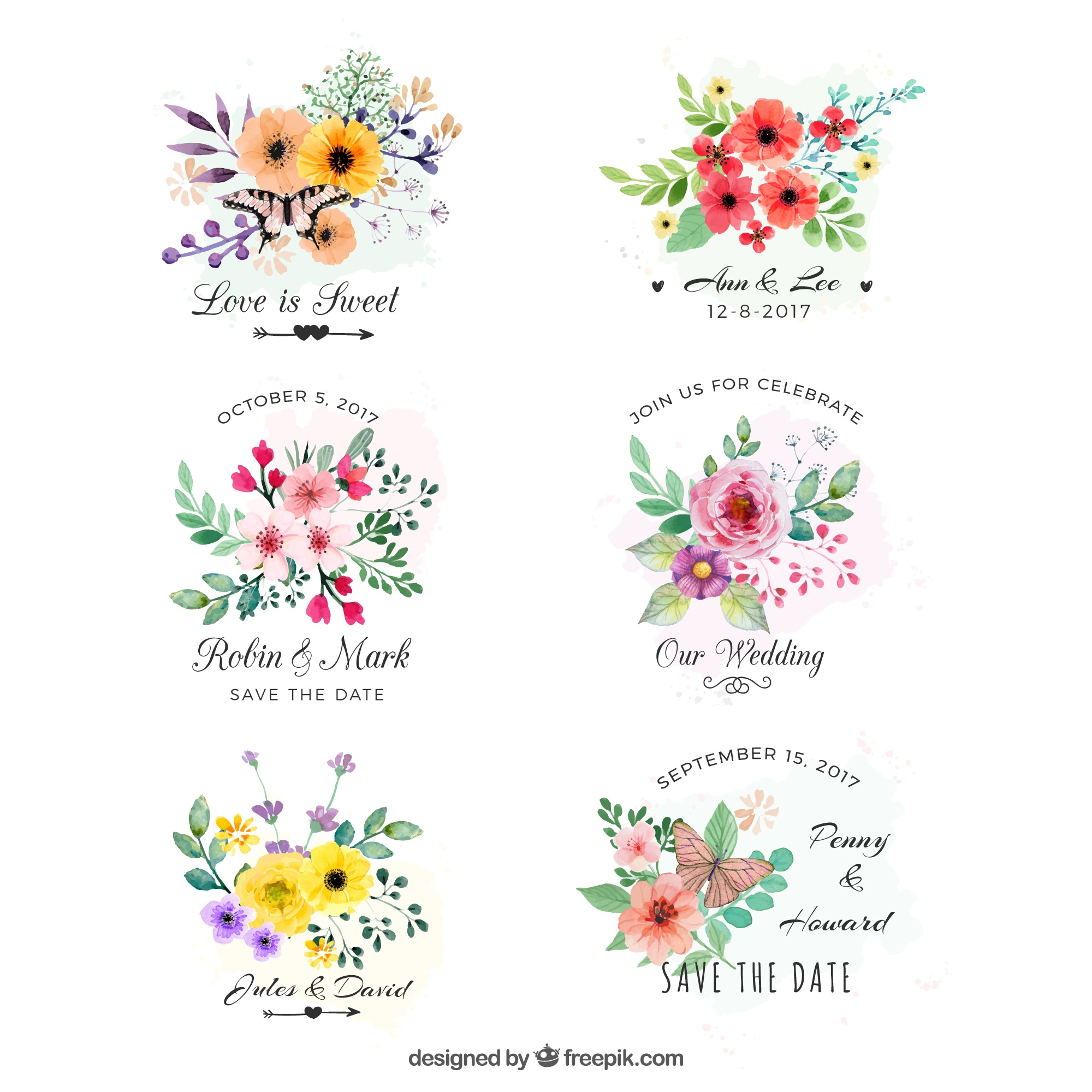 Set of watercolor labels with flowers