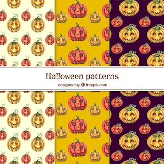 Set of watercolor patterns with pumpkins