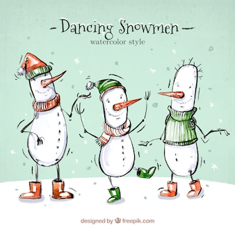 Set of watercolor snowmen dancing