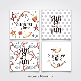 Set of watercolor summer cards