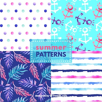Set of watercolor summer patterns