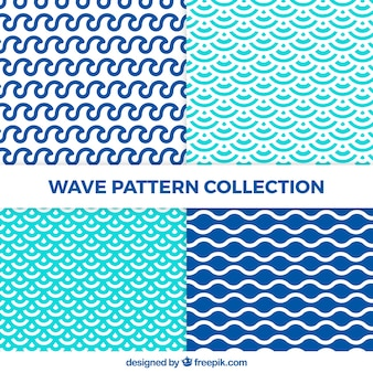 Set of wave patterns with abstract shapes