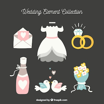Set of wedding elements