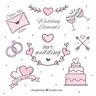 ピンクのトーンで結婚式のアイテムのセット