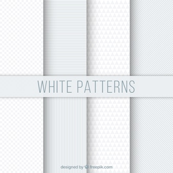 Set of white geometric patterns