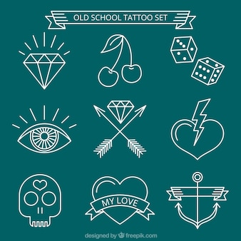 Set of white hand-drawn tattoos