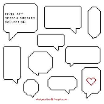 Set of white speech bubbles in pixel art style
