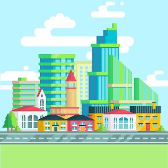 都市景観の広いパノラマセット