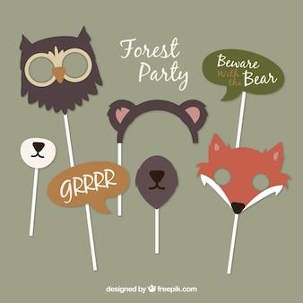Set of wild animals accessories for photoboth