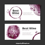 Set of wine banners in watercolor style