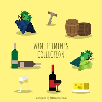 Set of wine bottles and  elements in flat design