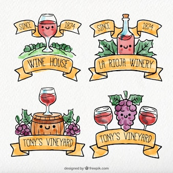 Set of wine stickers with cute characters