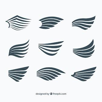 フラットデザインの羽のセット