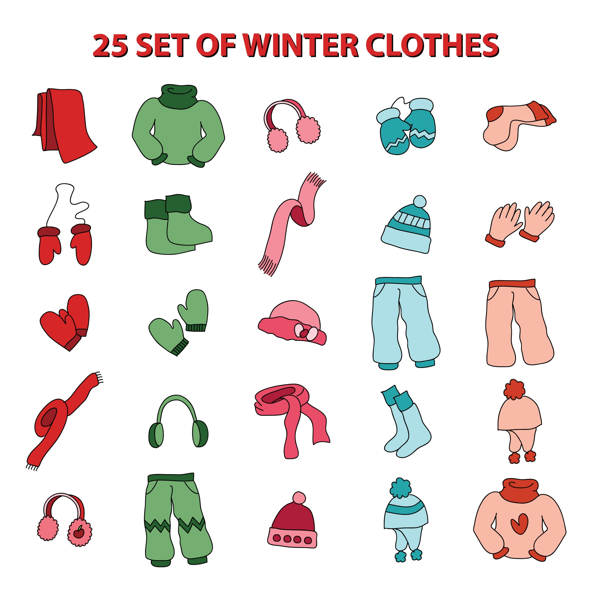 Set of winter apparel / clothes icon. vector illustration