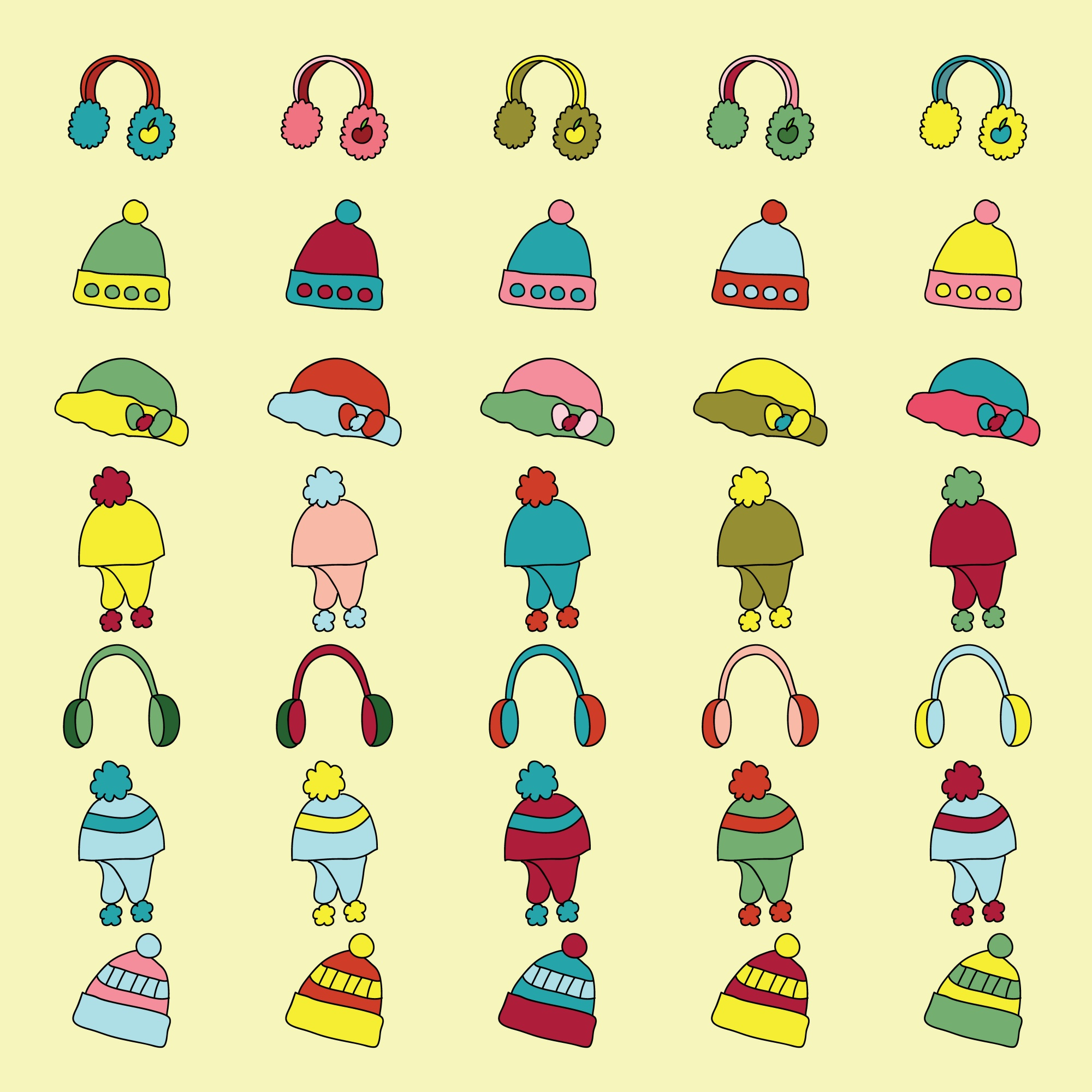 Set of winter apparel clothes icon.  vector illustration