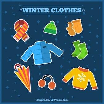 Set of winter clothing and accessories stickers