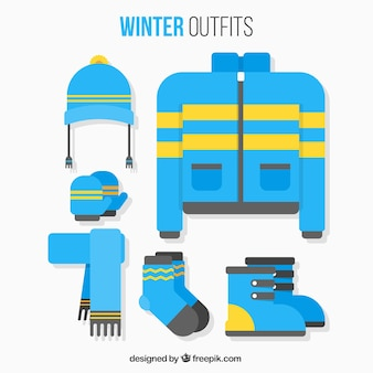 Set of winter outfit and accessories