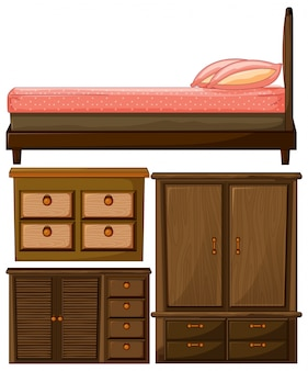 Set of wooden furniture bed and closet