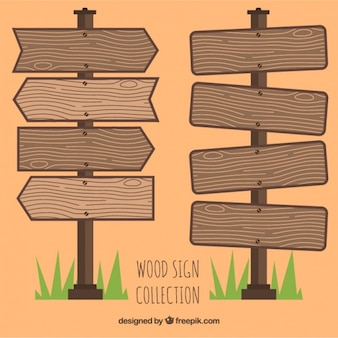 Set of wooden signs
