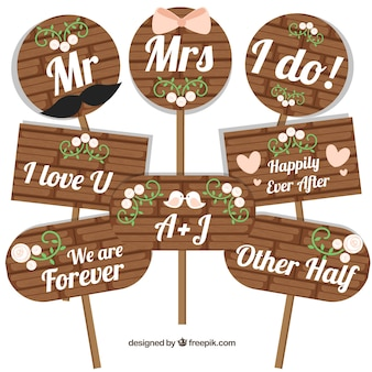 Set of wooden wedding posters