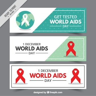 Set of world aids day banners