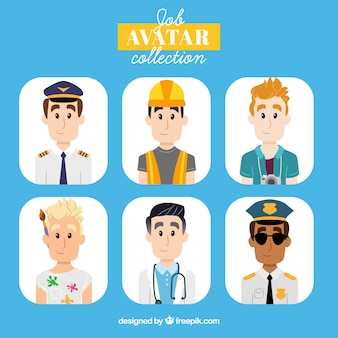 Set of young men avatars