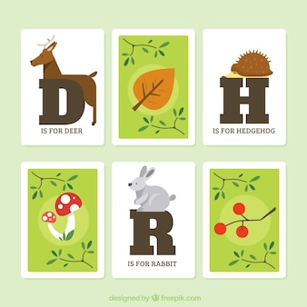 Set pretty cards with initials and forest animals