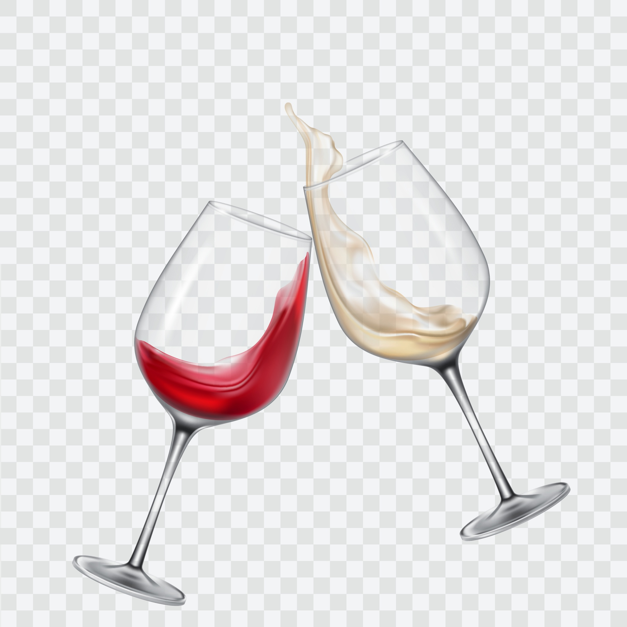 Set transparent glasses with white and red wine