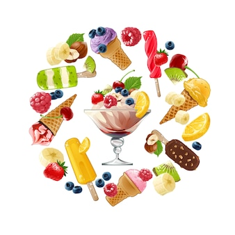 Set vector icons of ice cream