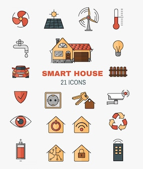 Set vector line art icons of the smart home, controlling through internet home work equipment.