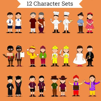 Set with a variety of characters