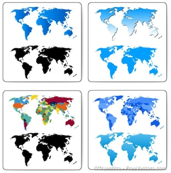Set world maps cartography business banner worldwide blue black