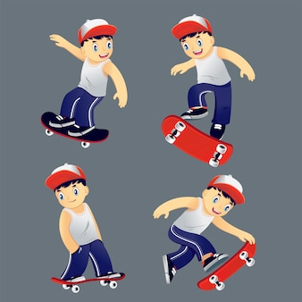 Set youngster riding on a skateboard, different rick vector illustration