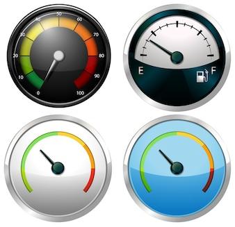 Sets of meter gauges on a white background
